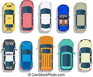 carros, topo, vetorial, vista