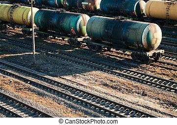 carros, tren, aceite, transportar, carga
