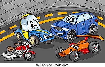 carros, veículos, grupo, caricatura, ilustração