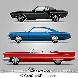 carros, vetorial, jogo, clássicas