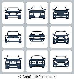 carros, vetorial, jogo, isolado, ícones