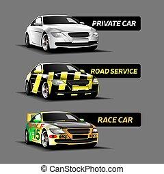 carros, vetorial, tipos, ilustração