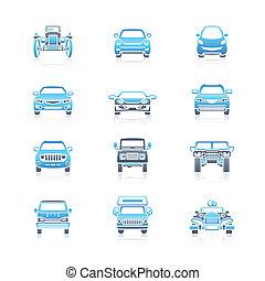 carros, vista dianteira, ícones, |, marinho