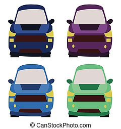 carros, vista dianteira, ilustração