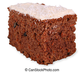 Carrot cake - A large piece of carrot cake with white icing...