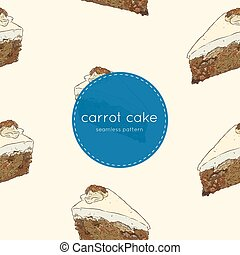 carrot cake hand draw sketch seamless pattern vector.