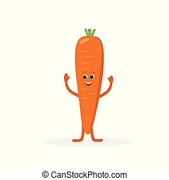 Carrot cartoon character isolated on white background. Healthy food funny mascot vector illustration in flat design.