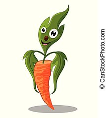 Carrot cartoon, Cute vegetable isolated on white background - Vector illustration