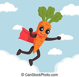 carrot character flying with cape