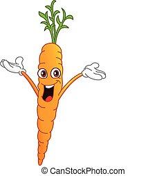Carrot - Cheerful cartoon carrot raising his hands