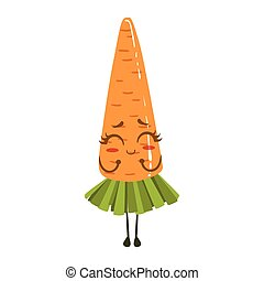 Carrot Cute Anime Humanized Smiling Cartoon Vegetable Food Character Emoji Vector Illustration