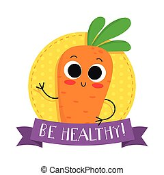 carrot, cute vegetable vector character badge - Carrot, cute...