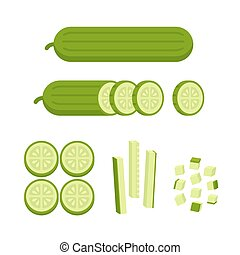 Carrot cuts illustration - Fresh cucumber - sliced, cubed...