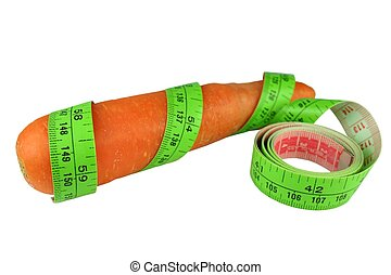 Carrot Diet - Carrot with tape measure against white...