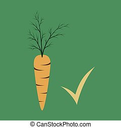 Carrot flat icon. Carrot icon on background. Veg icon illustration. Carrot, vegetable, food, vector flat style.