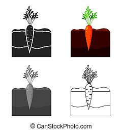 Carrot icon cartoon. Single plant icon from the big farm, garden, agriculture cartoon.