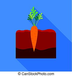 Carrot icon flat. Single plant icon from the big farm, garden, agriculture flat.