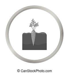 Carrot icon monochrome. Single plant icon from the big farm, garden, agriculture monochrome.