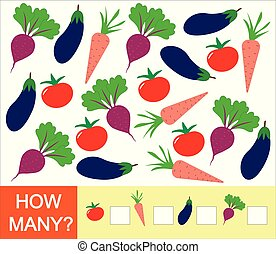 carrot)., illustration., 多数, 野菜, 数, いかに, ゲーム, ベクトル, 勉強, 数学, children., ビート, 数える, (tomato, なす