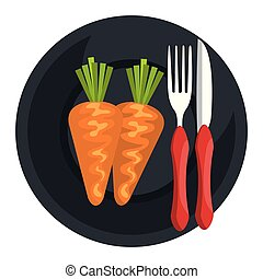 carrot in dish with fork and knife
