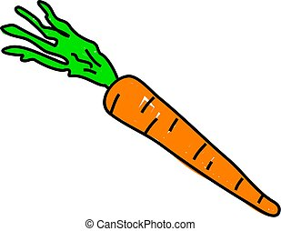 carrot isolated on white drawn in toddler art style