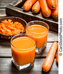 Carrot juice in a glass.
