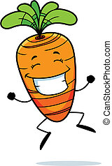 Carrot Jumping - A happy cartoon carrot jumping and smiling.