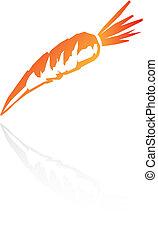 Line art carrot isolated on white
