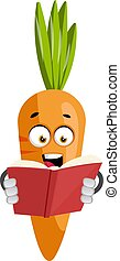 Carrot reading book, illustration, vector on white background.