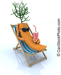 carrot resting on a beach chair, 3d illustration