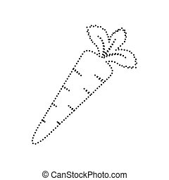 Carrot sign illustration. Vector. Black dotted icon on white background. Isolated.