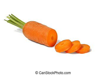 Carrot slices - Fresh carrot slices on white background