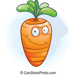Carrot Smiling - A cartoon orange carrot smiling and happy.