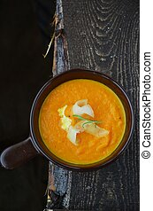 carrot soup in the dish