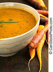 Carrot soup - Carrots soup with fresh and colorful carrots...