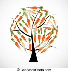 carrot tree vector illustration isolated on white background