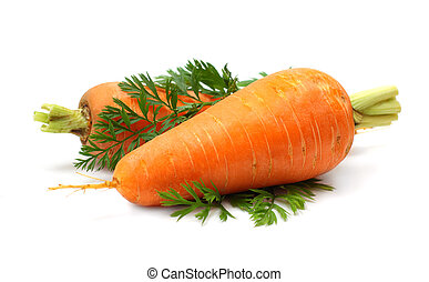 Carrot vegetable with green leaf isolated