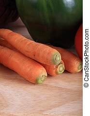 carrot vegetables on wooden chopping board prepare cooking