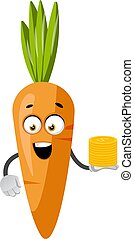 Carrot with coins, illustration, vector on white background.