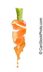 carrot with juice on a white background
