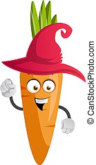 Carrot with red hat, illustration, vector on white background.