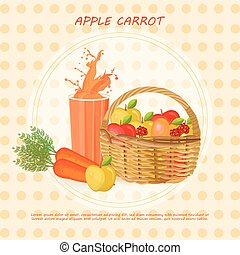 Carrots and apples in a basket Vector background