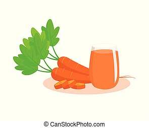 Carrots and carrot juice isolated on white background. Carrots with leaves and glass of carrot juice.
