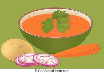 carrots and coriander soup vector