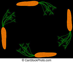 Carrots as vegetable frame with black background