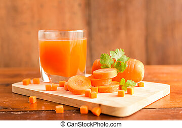 Carrots, Delicious sweet drink fresh carrot juice with...