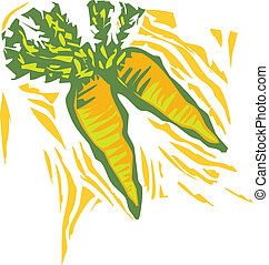 Carrots in a woodcut style image of produce.