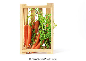 Carrots in Wooden Box on White Background