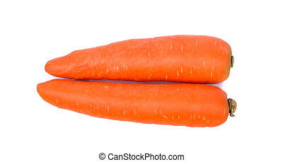 Carrots isolated on white background, top view