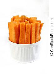 carrots sticks in white bowl